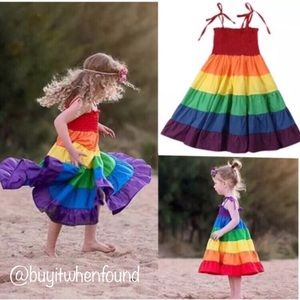 Other - Rainbow Layered Tiered Maxi Sun Dress 2-7 years